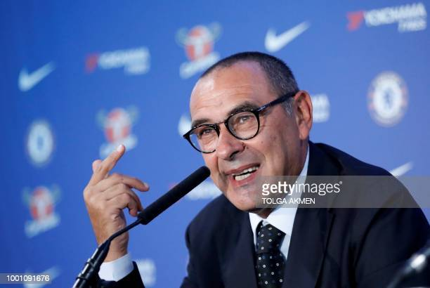 Chelsea's newly appointed manager, Maurizio Sarri, speaks during his unveiling press conference at Stamford Bridge in west London on July 18, 2018. -...