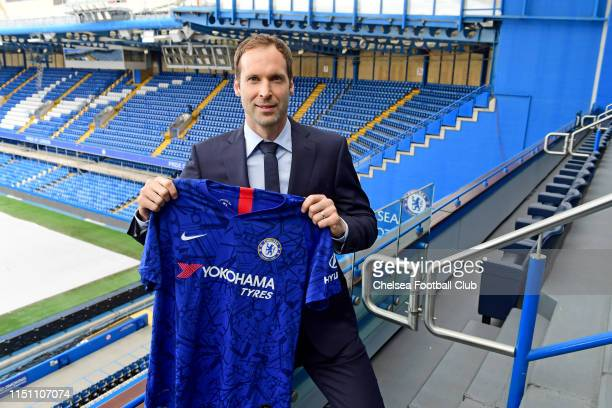 Chelsea's newly signed Technical and Performance Advisor Petr Cech poses for a photo at Stamford Bridge on June 20 2019 in London England