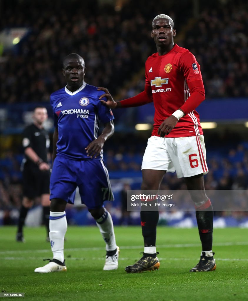 Chelsea's N'Golo Kante and Manchester United's Paul Pogba during the Emirates FA Cup, Quarter Final match at Stamford Bridge, London.