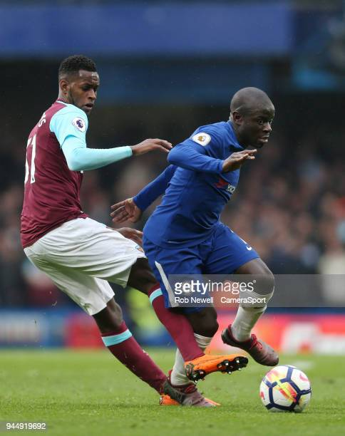 Chelsea's Ngolo Kante and West Ham United's Edimilson Fernandes during the Premier League match between Chelsea and West Ham United at Stamford...