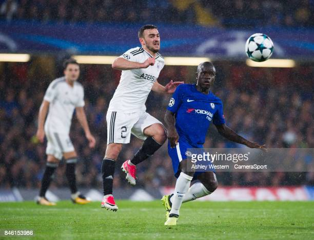 Chelsea's Ngolo Kante battles for possession with Qarabag's Gara Garayev during the UEFA Champions League group C match between Chelsea FC and...