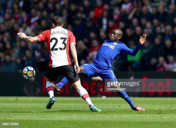 Chelsea's Ngolo Kante battles with Southampton's PierreEmile Hojbjerg during the Premier League match between Southampton and Chelsea at St Mary's...