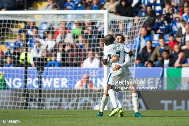 Chelsea's Ngolo Kante celebrates scoring his side's second goal with team mate Alvaro Morata during the Premier League match between Leicester City...