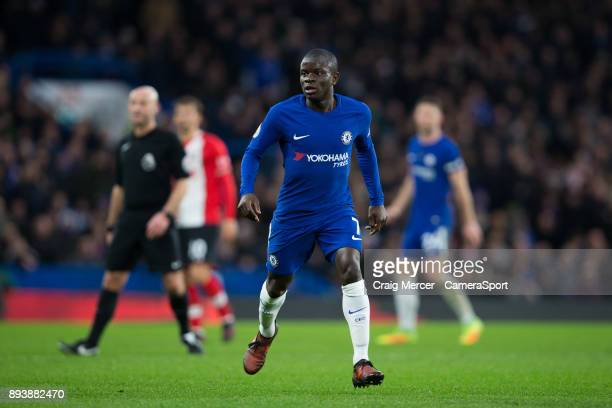 Chelsea's Ngolo Kante during the Premier League match between Chelsea and Southampton at Stamford Bridge on December 16 2017 in London England