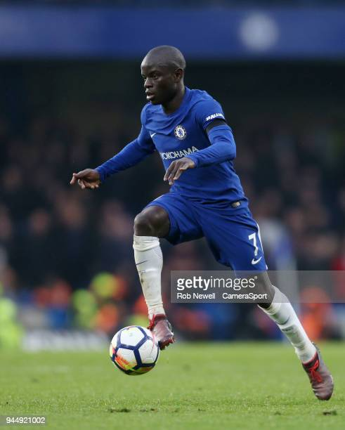 Chelsea's Ngolo Kante during the Premier League match between Chelsea and West Ham United at Stamford Bridge on April 8 2018 in London England