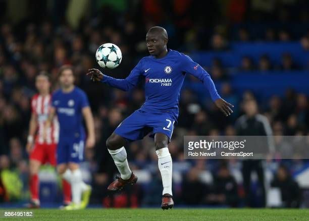 Chelsea's Ngolo Kante during the UEFA Champions League group C match between Chelsea FC and Atletico Madrid at Stamford Bridge on December 5 2017 in...
