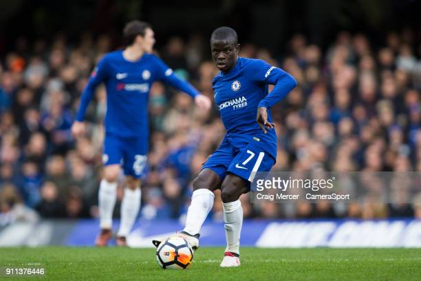 Chelsea's Ngolo Kante in action during The Emirates FA Cup Fourth Round match between Chelsea and Newcastle United at Stamford Bridge on January 28...