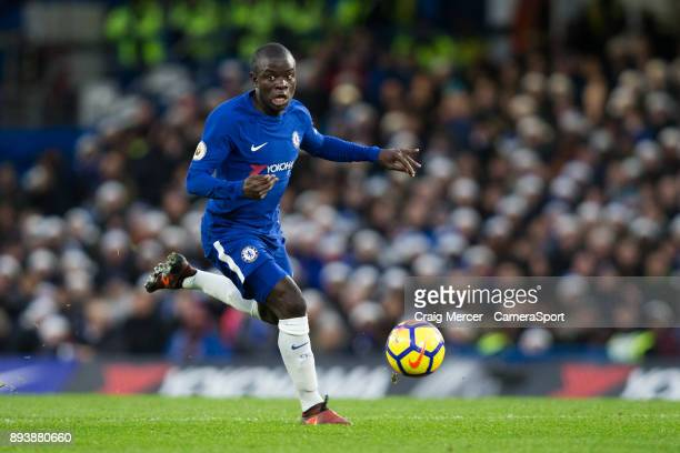 Chelsea's Ngolo Kante in action during the Premier League match between Chelsea and Southampton at Stamford Bridge on December 16 2017 in London...