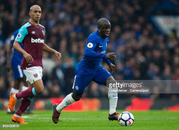 Chelsea's Ngolo Kante in action during the Premier League match between Chelsea and West Ham United at Stamford Bridge on April 8 2018 in London...