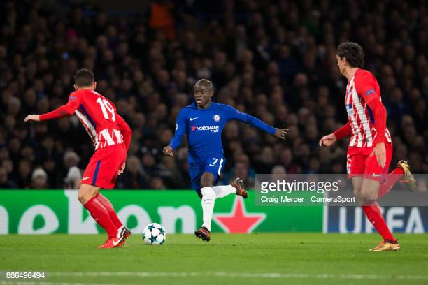 Chelsea's Ngolo Kante in action during the UEFA Champions League group C match between Chelsea FC and Atletico Madrid at Stamford Bridge on December...