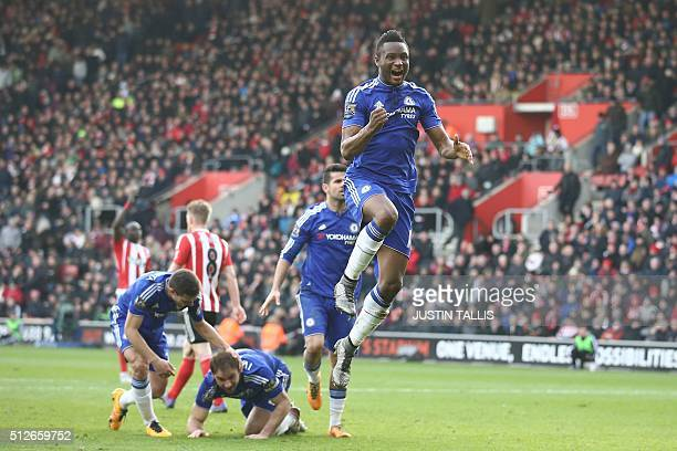 Chelsea's Nigerian midfielder John Obi Mikel celebrates after Chelsea's Serbian defender Branislav Ivanovic headed in their second goal during the...