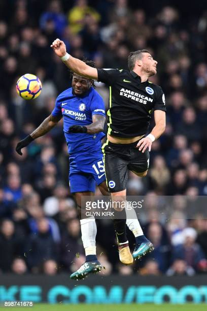 Chelsea's Nigerian midfielder Victor Moses vies with Brighton's Israeli striker Tomer Hemed during the English Premier League football match between...