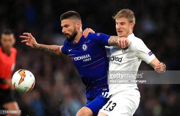 Chelsea's Olivier Giroud and Eintracht Frankfurt's Martin Hinteregger battle for the ball during the UEFA Europa League Semi Final Second Leg at...
