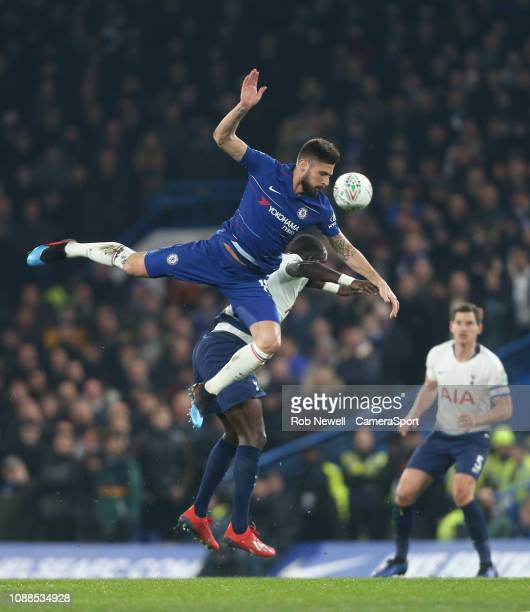Chelsea's Olivier Giroud and Tottenham Hotspur's Moussa Sissoko during the Carabao Cup SemiFinal Second Leg match between Chelsea and Tottenham...