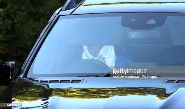 Chelsea's Olivier Giroud arrives at the club's Cobham training ground after the Premier League announced players can return to training in small...