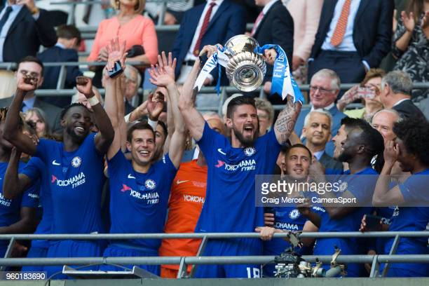 Chelsea's Olivier Giroud celebrates with the trophy after the Emirates FA Cup Final match between Chelsea and Manchester United at Wembley Stadium on...