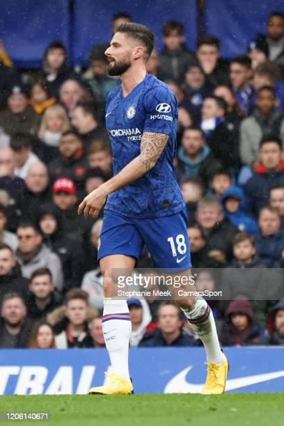 Chelsea's Olivier Giroud during the Premier League match between Chelsea FC and Everton FC at Stamford Bridge on March 8 2020 in London United Kingdom