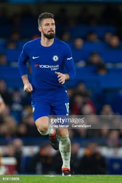 Chelsea's Olivier Giroud during the The Emirates FA Cup Fifth Round match between Chelsea and Hull City at Stamford Bridge on February 16 2018 in...