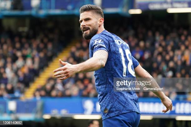 Chelsea's Olivier Giroud questions the linesman decision during the Premier League match between Chelsea FC and Everton FC at Stamford Bridge on...