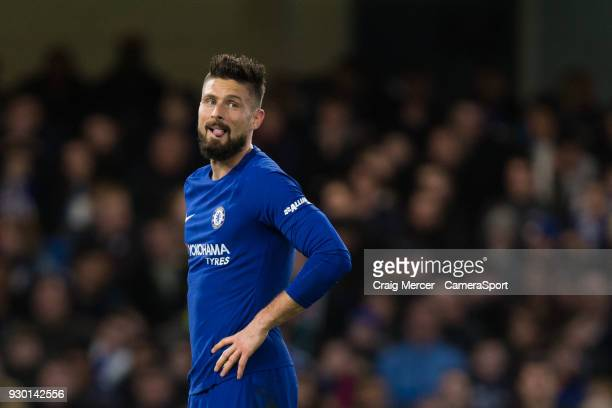 Chelsea's Olivier Giroud reacts to a missed chance during the Premier League match between Chelsea and Crystal Palace at Stamford Bridge on March 10...