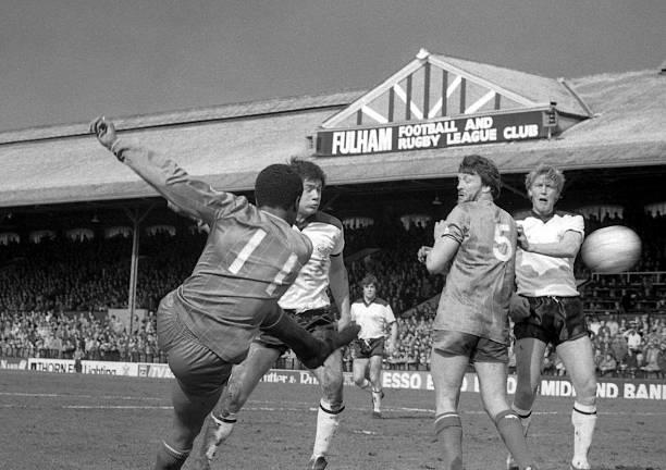 Chelsea's Paul Canoville scoring Chelsea's goal during Fulham 1 v Chelsea 1 match at Craven Cottage on April 2nd, 1983. Paul Canoville. CRAVEN...
