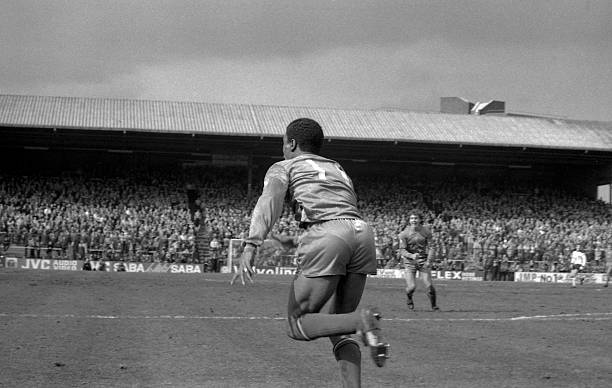 Chelsea's Paul Canoville turns away in triumph after scoring Chelsea's goal during Fulham 1 v Chelsea 1 match at Craven Cottage on April 2nd,1983....