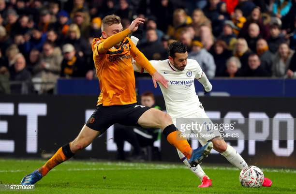 Chelsea's Pedro and Hull City's Jarrod Bowen battle for the ball Hull City v Chelsea FA Cup Fourth Round KCOM Stadium