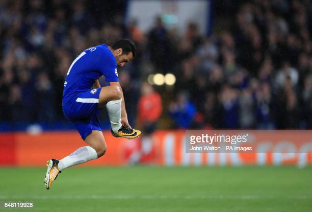 Chelsea's Pedro celebrates scoring his side's first goal of the game during the UEFA Champions League Group C match at Stamford Bridge London