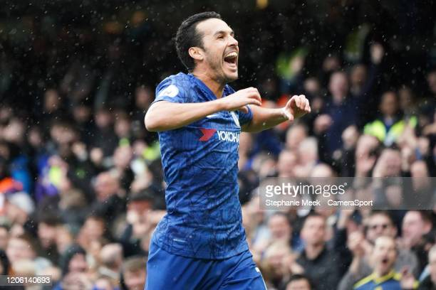 Chelsea's Pedro celebrates scoring his side's second goal during the Premier League match between Chelsea FC and Everton FC at Stamford Bridge on...