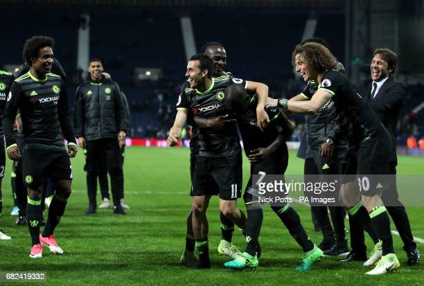 Chelsea's Pedro celebrates with teammates N'Golo Kante and David Luiz aloongside Antonio Conte during the Premier League match at The Hawthorns West...