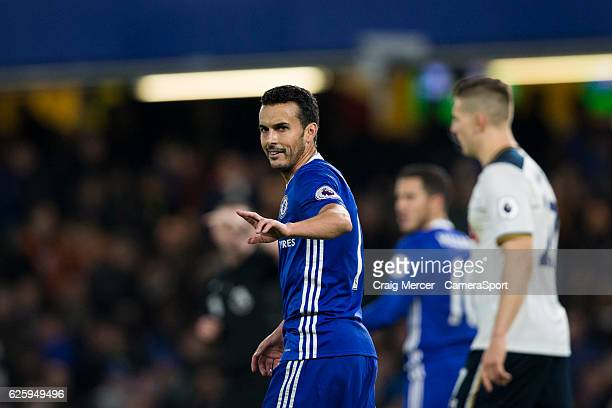 Chelsea's Pedro during the Premier League match between Chelsea and Tottenham Hotspur at Stamford Bridge on November 26 2016 in London England
