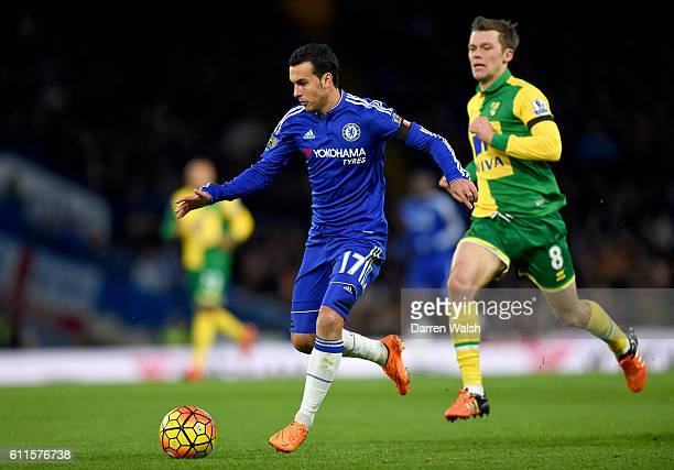 Chelsea's Pedro in action with Norwich City's Jonny Howson