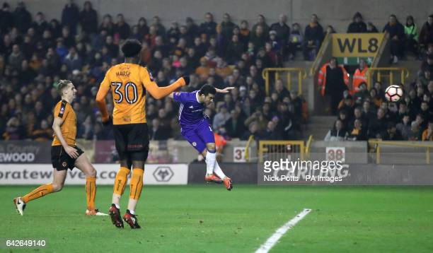 Chelsea's Pedro scores his side's first goal of the game during the Emirates FA Cup Fifth Round match at Molineux Wolverhampton
