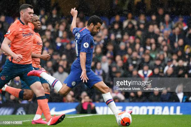 Chelsea's Pedro scores his side's second goal during the Premier League match between Chelsea FC and Everton FC at Stamford Bridge on March 8 2020 in...