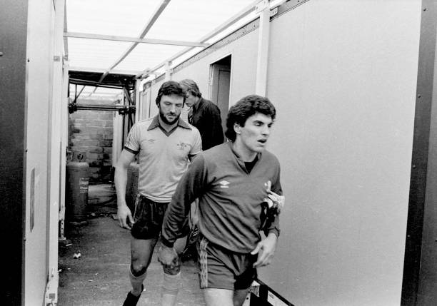 Chelsea's Petar Borota and Micky Droy exit the temporary changing rooms at Eastville before the Football League Division Two match between Bristol...