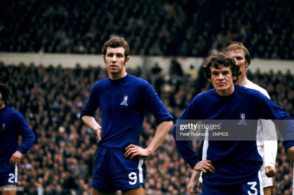 Chelsea's Peter Osgood and Eddie McCreadie wait for a corner