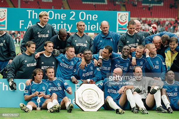 Chelsea's players celebrate after their victory in the FA Community Shield against Manchester United