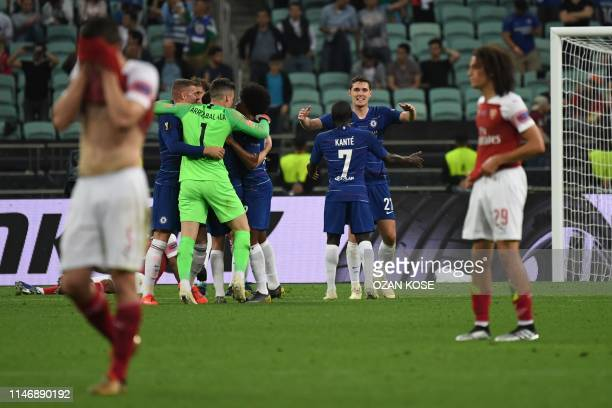 Chelsea's players celebrate after winning the UEFA Europa League final football match between Chelsea FC and Arsenal FC at the Baku Olympic Stadium...