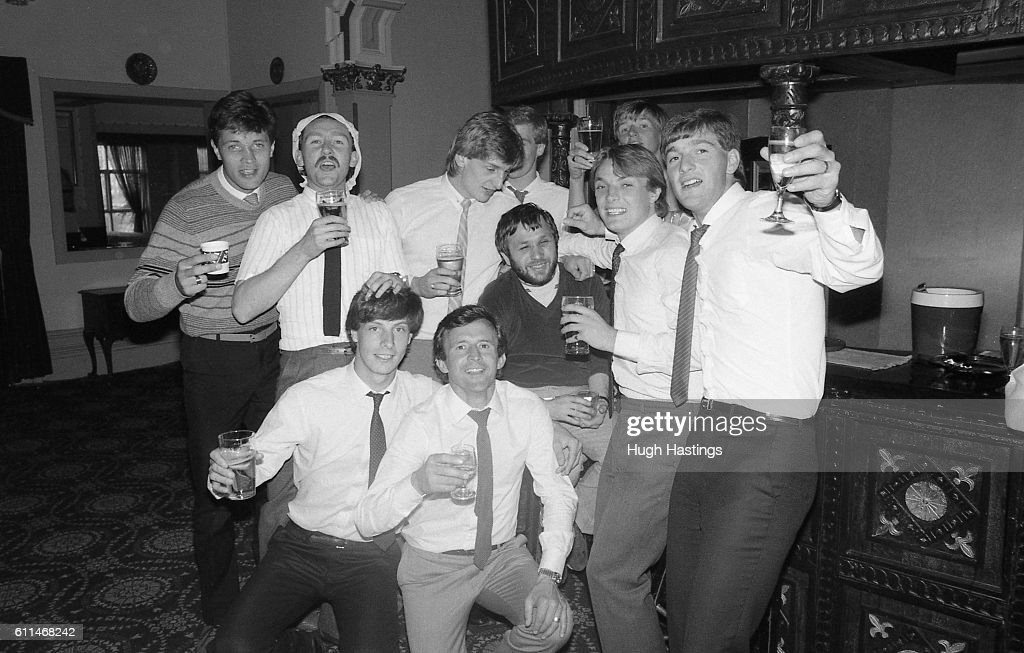 Chelsea's players celebrate in a hotel after the game at Grimsby ...