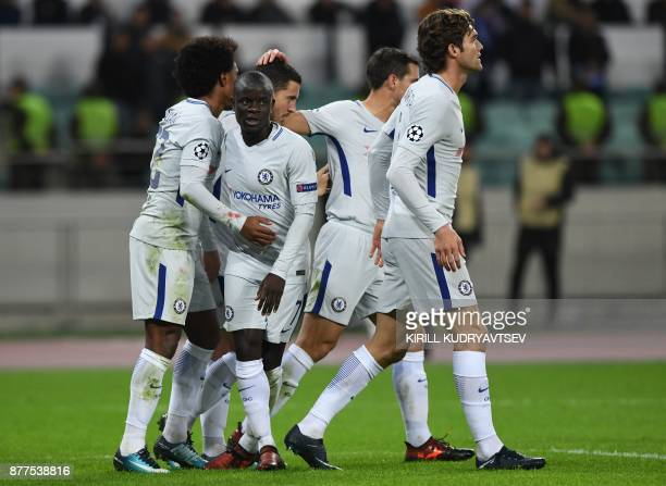Chelsea's players celebrate the team's second goal during the UEFA Champions League Group C football match between Qarabag FK and Chelsea FC in Baku...
