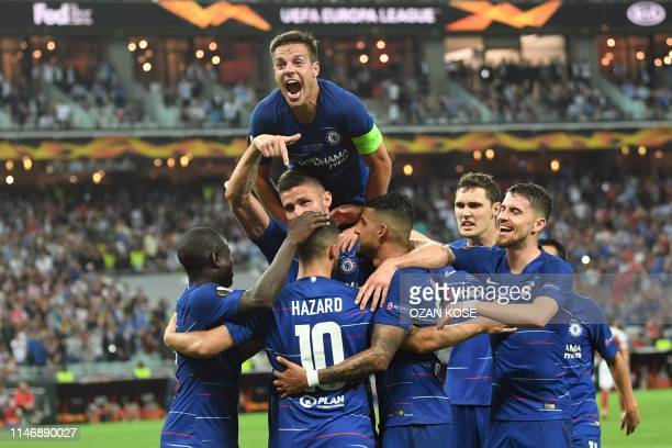 TOPSHOT Chelsea's players celebrates after scoring a goal during the UEFA Europa League final football match between Chelsea FC and Arsenal FC at the...