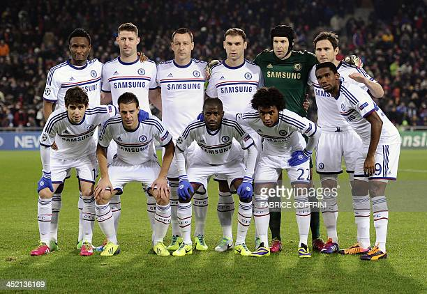 Chelsea's players Nigerian midfielder John Mikel Obi English defender Gary Cahill English defender John Terry Serbian defender Branislav Ivanovic...