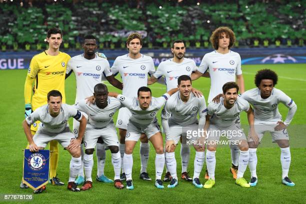 Chelsea's players pose before the UEFA Champions League Group C football match between Qarabag FK and Chelsea FC in Baku on November 22 2017...