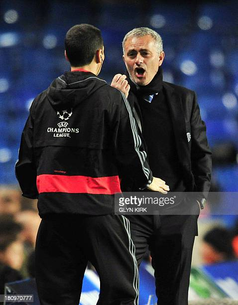 Chelsea's Portuguese manager Jose Mourinho complains to the fourth official during the UEFA Champions League Group E football match against FC Basel...