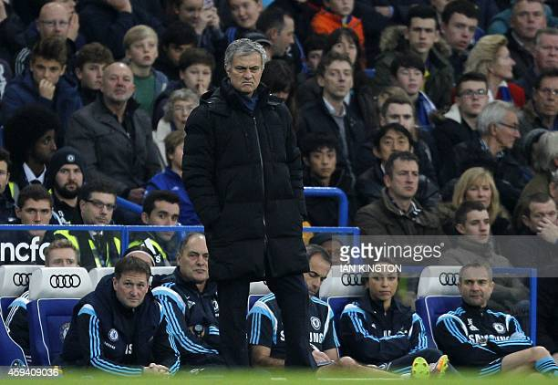 Chelsea's Portuguese manager Jose Mourinho gestures during the English Premier League football match between Chelsea and West Bromwich Albion at...