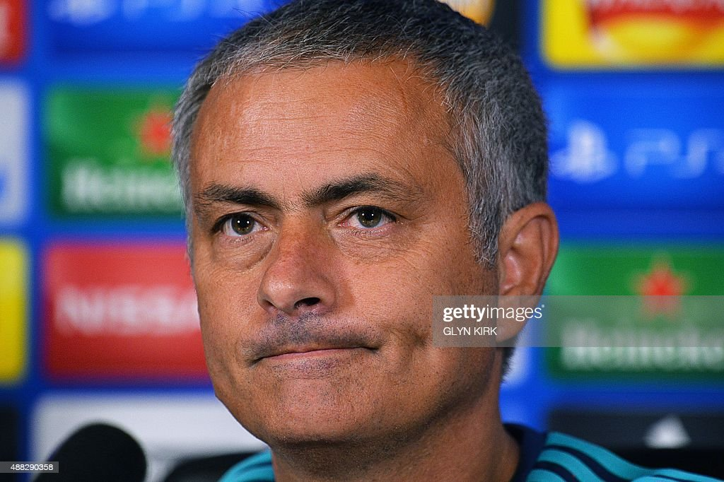 Chelsea's Portuguese manager Jose Mourinho gives a press conference at Chelsea's training ground, in Stoke D'Abernon, near London, on September 15, 2015, ahead of the team's forthcoming UEFA Champions League group G football match against Maccabi Tel Aviv.