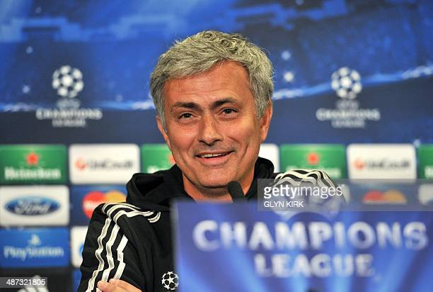 Chelsea's Portuguese manager Jose Mourinho holds a press conference at Stamford Bridge in London on April 29 on the eve of the team's UEFA Champions...