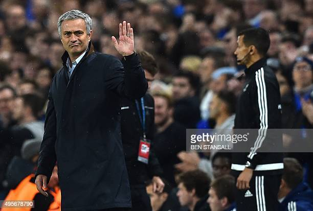 Chelsea's Portuguese manager Jose Mourinho waves to fans during a UEFA Chamions league group stage football match between Chelsea and Dynamo Kiev at...
