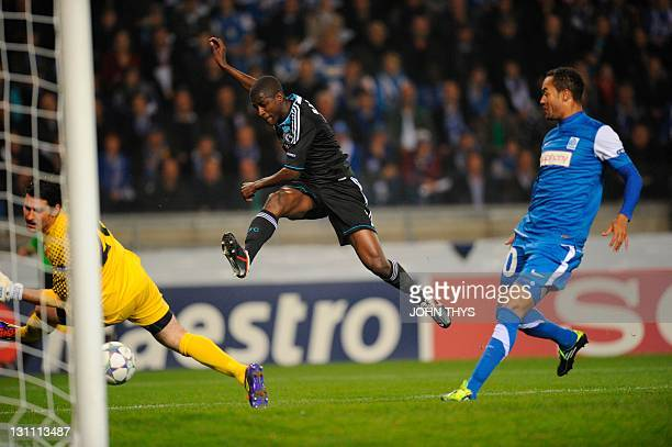 Chelsea's Ramires scores against KRC Genk during their UEFA Champions League Group E football match at the Cristal Arena stadium in Genk on November...