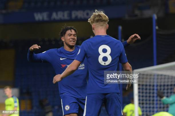 Chelsea's Reece James celebrates scoring from Luke McCormick's corner during the Chelsea v Derby County Premier League 2 Match at Stamford Bridge on...